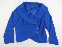 Ashro Women's Asymmetrical Blazer Jacket Embellished Buttons Blue 20w