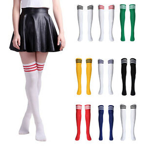 neuf femmes rayure chaussettes hautes genoux sports football arbitre fantaisie ebay. Black Bedroom Furniture Sets. Home Design Ideas