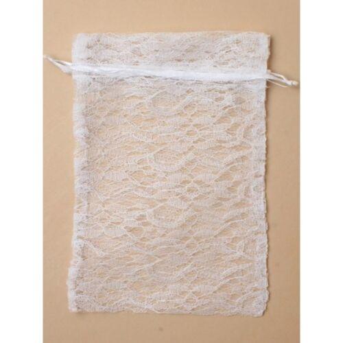 Neuf 12 blanc lacet de serrage grande faveur Sacs Fête De Mariage Confiserie 22x15