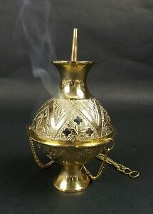 Carved-Brass-Hanging-Incense-Burner-Large-Cone-Charcoal-Censer-Church-Altar