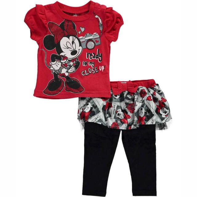 0e78d5572b823 DISNEY Minnie Mouse 2pc Set T-Shirt Tutu Legging Toddler Girls Size 3-6