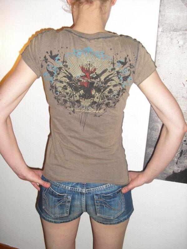 100 % Baumwolle T-shirt Shirt Braun Front- Und Rückenprint Xs 34 Biker Rocker 2019 Offiziell