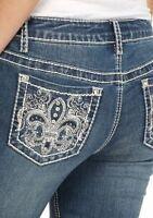 Women's Miss Earljean Fleur De Lis Stretch Bling Me Capris Jeans Nwt's