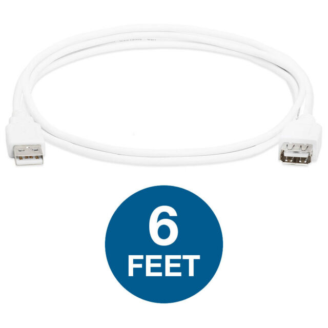 10 lot 6/'FT USB 2.0 Shielded 28 AWG Male to Female MF Extension Cable Black