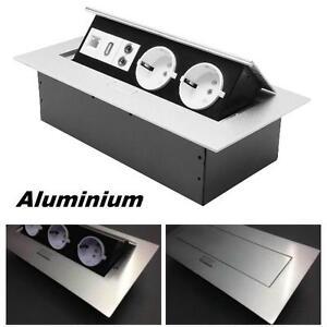 Tischsteckdose-Einbausteckdose-2fach-USB-Aluminium-Wandsteckdose-versenkbar