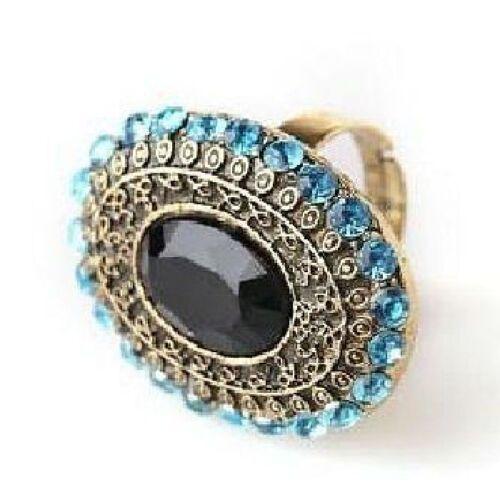 Negro Vintage variable bronce Anillo Orient con pedrería en turquesa azul