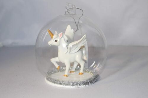 Gisela Graham Mignon Résine Licorne en boule de verre Arbre de Noël décoration 12841