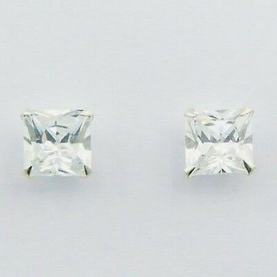 Sterling Silver 925 5mm Princess Cut Studs Earrings Simulated Diamond Square