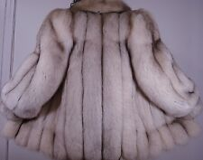 Luxurious Top Quality Blue White Fox Fur Jacket Size 6-8 Free Ship  EXCELL CONDI
