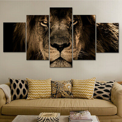 Strong Big Male Lion Head 5 Pieces Canvas Wall Art Poster Print Home Decor
