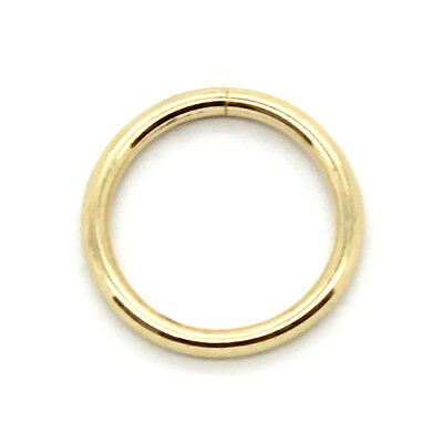 14k Solid Yellow Gold Seamless Hoop Lip Cartilage Tragus Nose Ring 22g 7 16