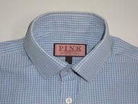 "Thomas Pink smart blue gingham check shirt 15"" / 33.5 Classic - S2344"