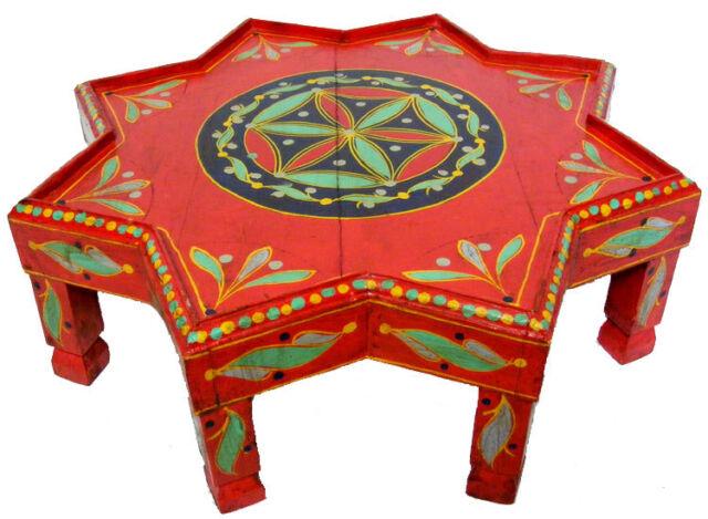 Antik Look Orient Afghan Stern Tisch Teetisch 1001 Nacht Teatable 55 Cm Rot