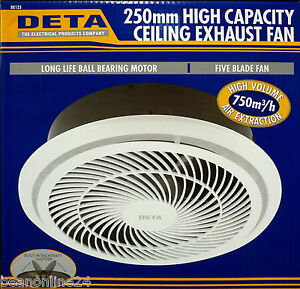 250mm High Capacity Ceiling Exhaust Fan - 750m3 per hour