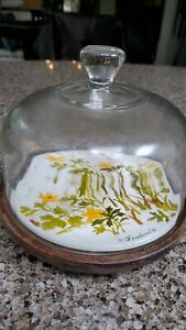 Vintage Goodwood 1970s Cheese Wood Serving Tray with Glass Dome Cover