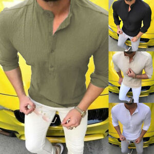 Luxury-Men-039-s-Stylish-Casual-Dress-Shirt-Slim-Fit-T-Shirts-Formal-Long-Sleeve-HOT