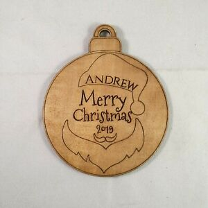 Personalised-Wooden-Christmas-034-Ball-ChristmasTree-Hanger-Custom-Design