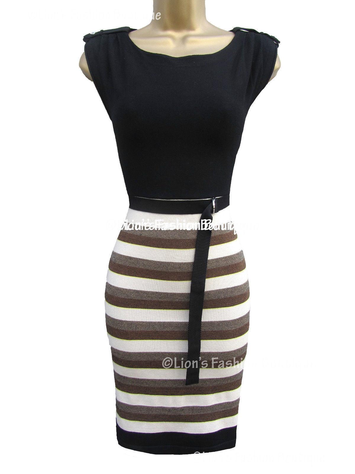 New KAREN MILLEN BNWT  Stripe Knit Evening Party Bodycon Bandage Dress SALE