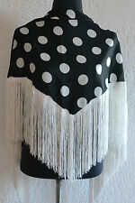 "Spanish Flamenco black shawl  with white polka dots & fringe 57""x34"" 145 x 86cm"