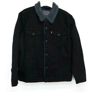 New-Levis-Mens-16365-0054-Black-Wash-Sherpa-Jean-Denim-Trucker-Jacket-XL