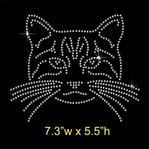 Cat Face Rhinestone//Diamante Transfer Hotfix Iron on Motif Appliqué in crystal