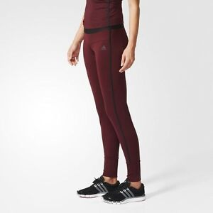 2ad9b45e61 BNWT Adidas Gym Style Pants Leggings Tight Work Out AOP Burgundy ...