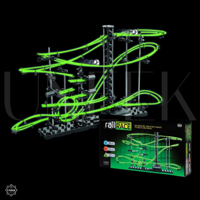 Glow in the Dark Rail Race - 10m Space Marble Run Track Toy Christams Gift Game
