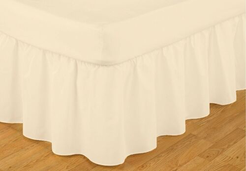 Frilled Easy Fit Valance Ivory Double Bed Size 137cm x 191cm x 41cm Drop