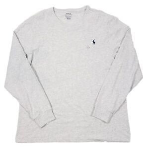 0712f5cfe Polo Ralph Lauren Men s Light Grey Custom Slim Fit Crewneck Long ...