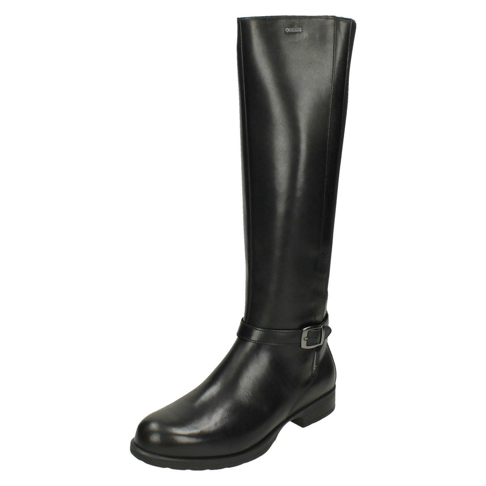 Clarks Clarks Clarks Mujer Cuero con Cremallera Gore-Tex Largo botas por la Rodilla de Montar  tienda en linea
