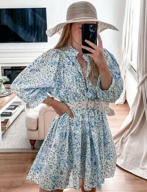 ZARA OVERSIZED BLUE DITSY FLORAL PRINTED POPLIN DRESS RUFFLE TRIM PUFF SLEEVES L