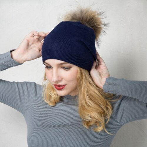 Womens Winter Warm Cashmere Strickte Real Waschbär Pom Pom Pelz Beanies Hut A392