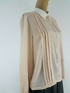 Topshop-Women-Blouse-Shirt-Size-10-Beige-Tan-Silk-Sheer-Long-Sleeve-White-Collar