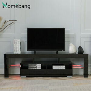 Black TV Stand 65 inch Entertainment Centre CD Cabinet Video Wood