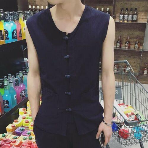 Men Summer Vest Linen Blend Sleeveless Solid Single Breasted Cardigan Waistcoats