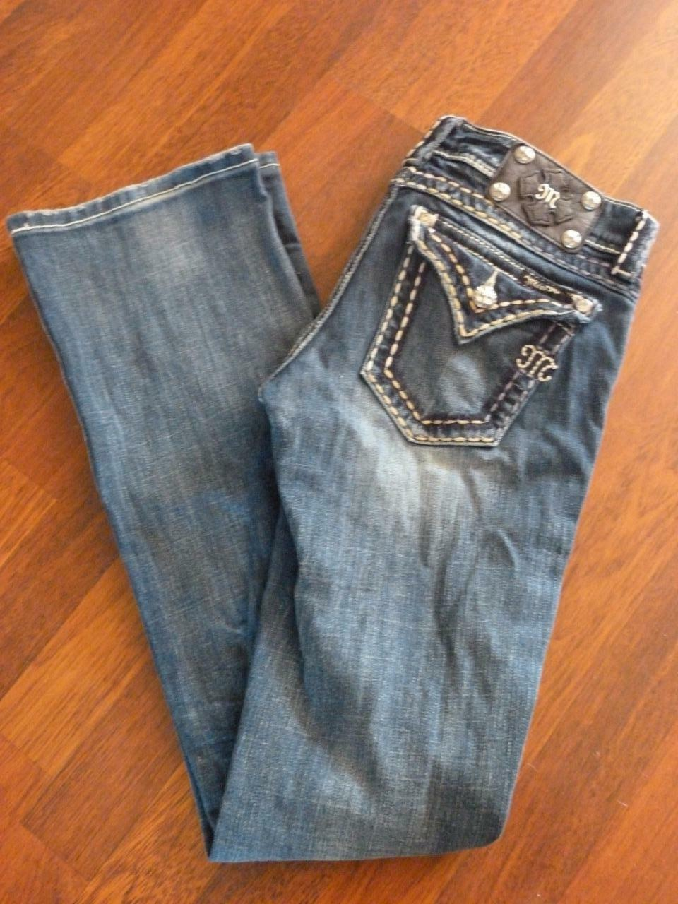MISS ME JP55014-16 White-Stitched Bootcut Jeans...size 27X33