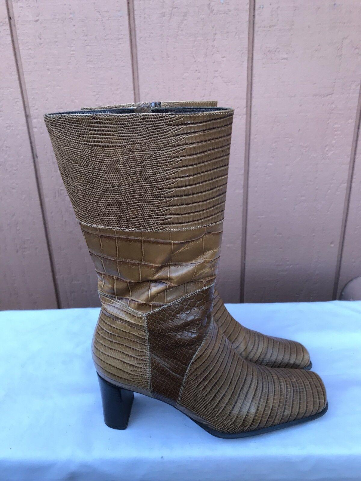 EUC Via Spiga Brown Leather Alligator Print Leather Zip Fashion Boot Size US 7.5
