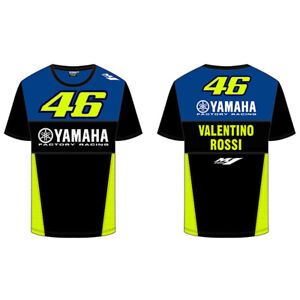 Valentino Rossi Yamaha Herren Blau Rennsport T Shirt Offiziell