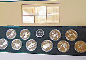 Set-of-1988-Calgary-Olympic-20-1-oz-Silver-Coins-10-Proof-Canada-Silver-Coins