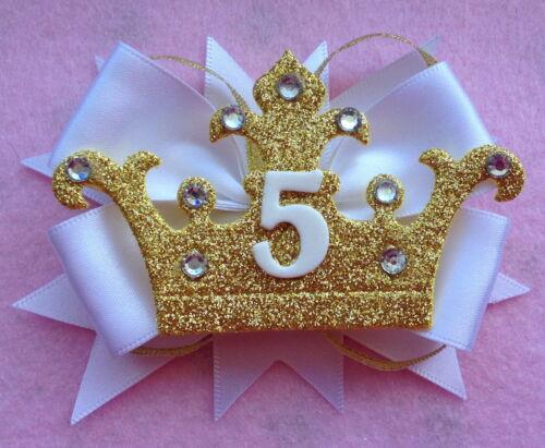 White Birthday Crown Badge Age Number Hair Bow Ribbon Girls Alligator Clip