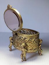 Vintage Gilt Metal Filigree Jewelry Box Trinket Angel Cherub Legs Beveled Glass