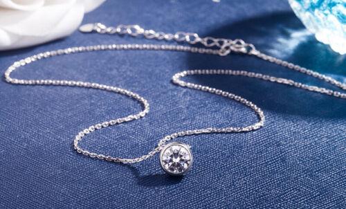 Sólido 925 Plata Esterlina Simple Delicada Cadena Rolo Cubic Zirconia Colgante Collar Redondo