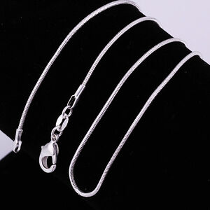 3pcs 925 Silver Solid Silver Snake Chain Women Necklace 1mm 2mm 16 24 Ebay