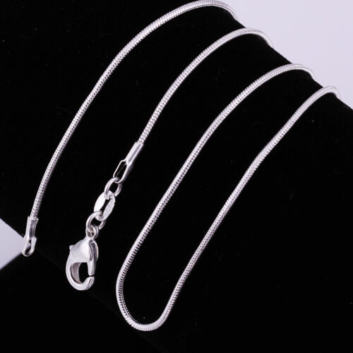 """3PCS 925 Silver Solid Silver Snake Chain Women Necklace 1MM-2MM 16/""""-24/"""""""