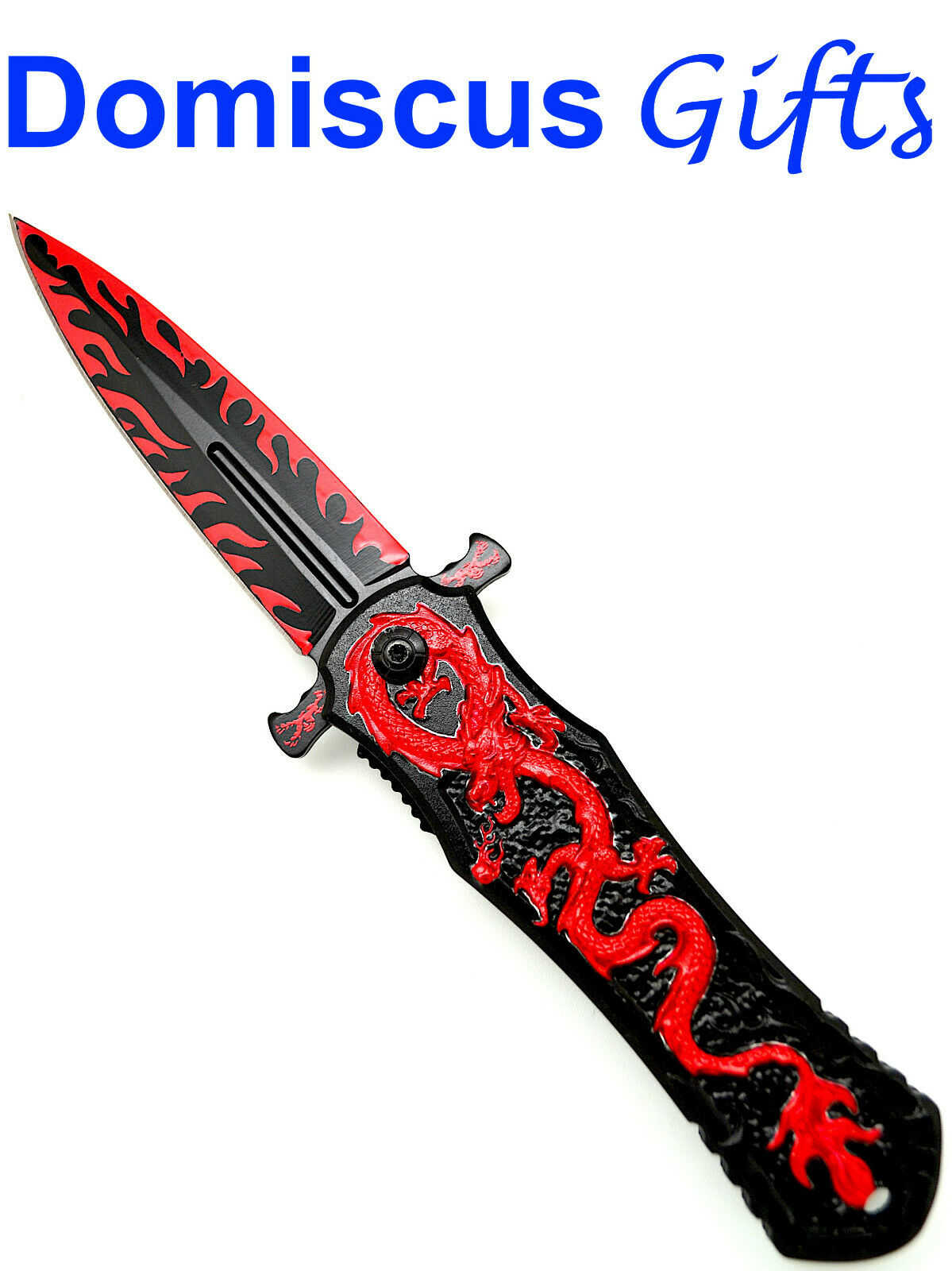 8″ NEW! FALCON Red on Black DRAGON Fantasy Spring Assisted POCKET KNIFE Knives