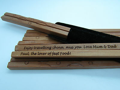 PERSONALISED ENGRAVED Authentic Natural Bamboo Chopsticks - Chinese New Year