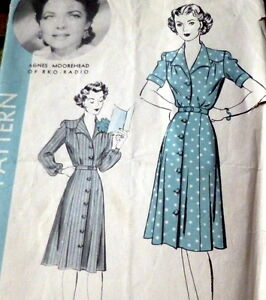 LOVELY-VTG-1940s-DRESS-HOLLYWOOD-Sewing-Pattern-BUST-44