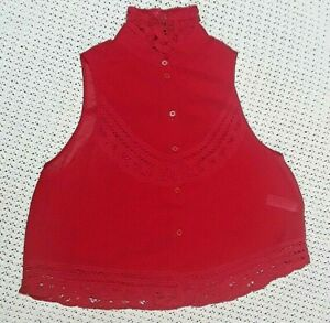 TOPSHOP BLOUSE TOP RED LACE DETAIL SHEER SLEEVELESS COLLARED BUTTON UP-UK SIZE10