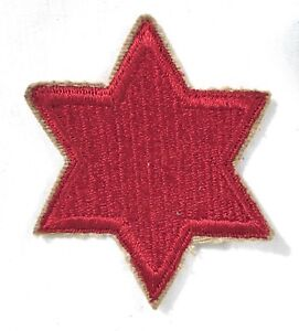WWII-U-S-Army-6th-Inf-Division-Patch-ORIGINAL-Vintage-WW2