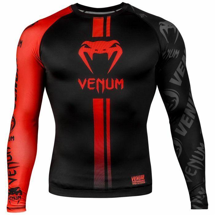 Venum Logos Camiseta de Neopreno Manga Larga Negro Rojo Llamativo No-Gi Mma